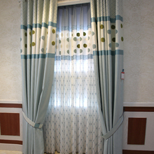 custom curtains simple  style  modern high-grade towel embroidery cloth blue bedroom livingroom curtains M029