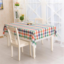 2016 New Table Cloth Plaid Printed High Quality Cotton Linen Lace Tablecloth Decorative Elegant Table Cover toalha de mesa(China)