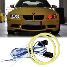 2PCS Car Motorcycle Universal Retrofit Headlight DRL LED Angel Eyes Projector Lens COB Halo Rings Light White Red Blue 90-100MM