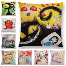 Hot Sale Funny Watercolor Big Small Eyes Cute Animals Cat Owl Fantasy Colorful Balloons Happy Life Cushion Cover Pillow Case