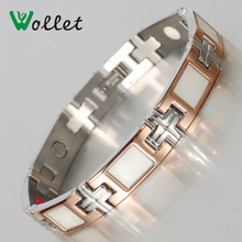Wollet Brand Women Stainless Steel Germanium Magnetic Shell Rose Gold Color Jewelry Bracelet