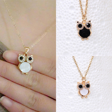 LNRRABC Women Charming Vintage Owl Pendant Necklace Link Chain Rhinestone Crystal Opal Chokers Necklace Fashion Women Jewelry