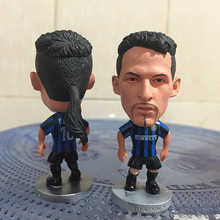 Soccerwe Classic 6.5 cm Height Resin Football Star Doll Inter 10 Baggio Doll Blue Black Collections Gift