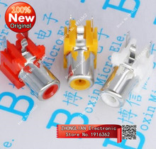 30PCS/Lot RCA Socket/Jack Female Connector Red/White/Yellow Single hole For AV/Audio/Signal