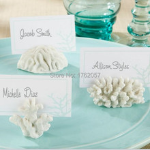 "36pcs/lot  ""Seven Seas"" Coral Place Card Photo Holder wedding party photo frame Factory t Selling"