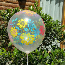 Transparent balloon very beautiful flower printed latex round balloon birthday wedding party decor 50pcs/lot Hot sell(China)