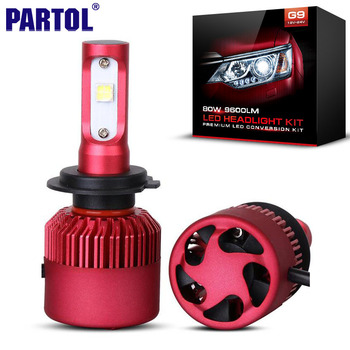 Partol G9 H4 HB2 H7 H11 H8 H9 9003 Voiture LED Phare Ampoules 80 W 9600LM CREE XHP50 Puce Tout en un LED Phare Brouillard Lampe 6500 K 12 V