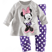 Children's pajamas set Spring&autumn fashion cartoon baby girls clothing set 100% cotton girl's pyjamas Sleepwear bule p007