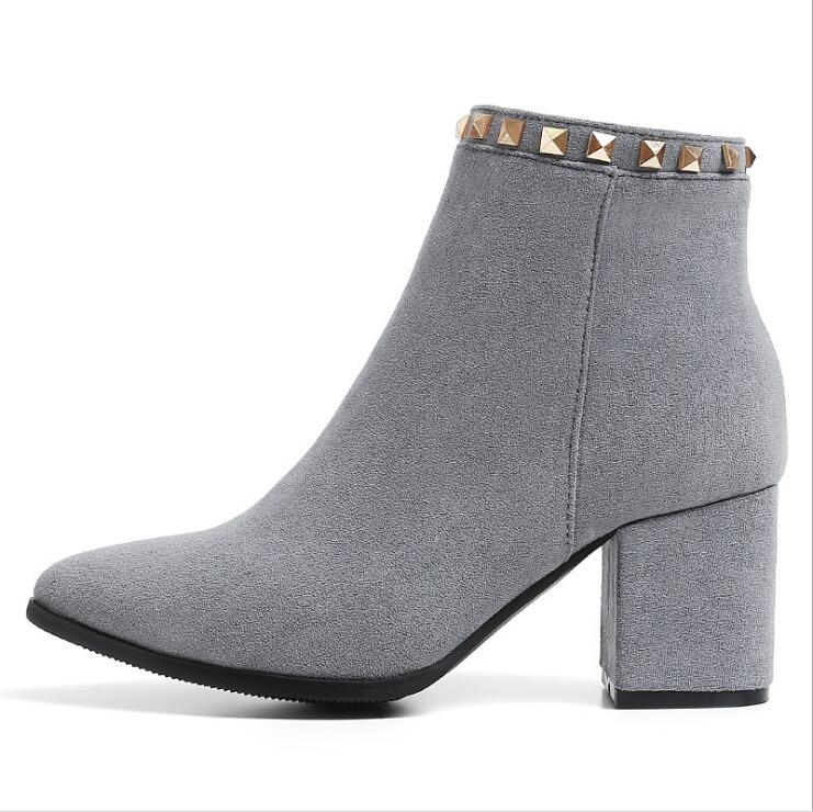 EIOUPI spring autumn winter boots nubuck suede women thick heel pointed toe ankle boot Odfa0436<br>