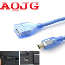 1FT/30CM USB Mini USB Cable Data Sync Charger OTG Cable AF/5P MP3 MP4 Camera Mobile Cell Phone Clear Blue U disk adapter