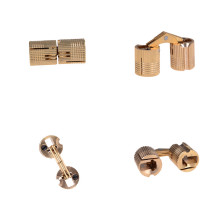 4PCS 8mm Invisible Copper Barrel Hinges Cylindrical Hidden Cabinet Concealed Brass Hinges Mount For Furniture Hardware