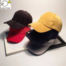 UGLY FISH corduroy women baseball cap women dad hat  snapback hip hop  Solid casual cap corduroy baseball cap