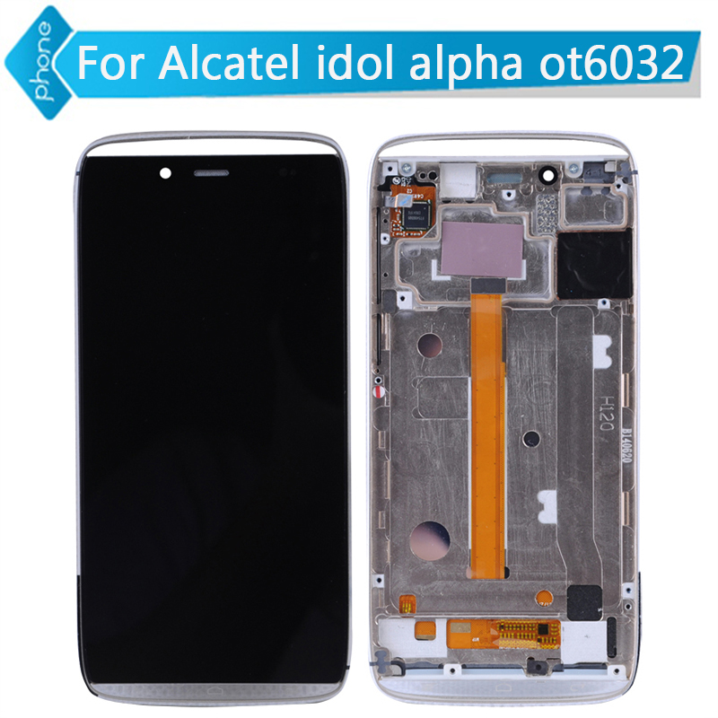 For Alcatel One Touch Idol Alpha OT6032 6032 LCD Display Touch Screen Digitizer Assembly with Frame<br><br>Aliexpress