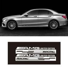 Pair Black/Reflective White AMG Racing sport Vinyl Decal Side Door Logo Stickers for Mercedes Benz AMG