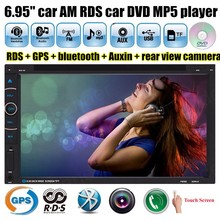 Support AM FM RDS 2 DIN Car DVD Player MP4 MP5 Touch Screen Bluetooth TF Auxin 6.95'' 10 languages GPS navigation free map(China)