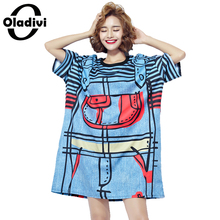 Buy Oladivi Plus Size Women Clothing 2017 Summer New Fashion Stripe Denim Apron Print Casual Dress Ladies Long Tops Tees Shirt Tunic for $18.37 in AliExpress store
