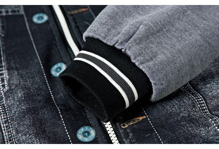 Aolamegs Men Hoodies Warm Fleece Fashion Denim Patchwork Outwear Hip Hop Hooded Sweatshirts Jacket Hoody With Headphone cable (13)