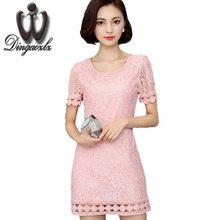 2017 Office Summer Drees Short-sleeved Hollow out Lace dress Knee length Plus size Casual Dress Women 4XL