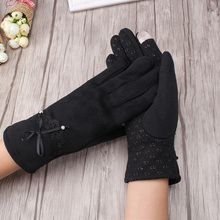 C Factory Price Winter Gloves for Women Warm Beads Design Full Fingers Mittens New Fashion Wrist Gloves Mitts Female Gloves