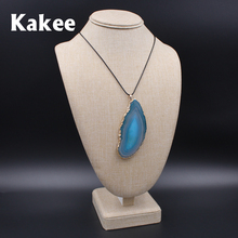 Kakee High Grade Irregular Natural Quartz Crystal Agates Slice Choker Necklace Pendant Semi Stone Female Collier Fashion Jewelry