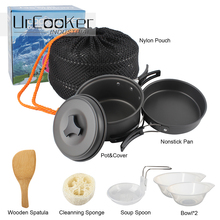 Outdoor Camping pan Hiking Cookware Backpacking Cooking Picnic Bowl Pot Pan Set 2 Piece Camping Cookware