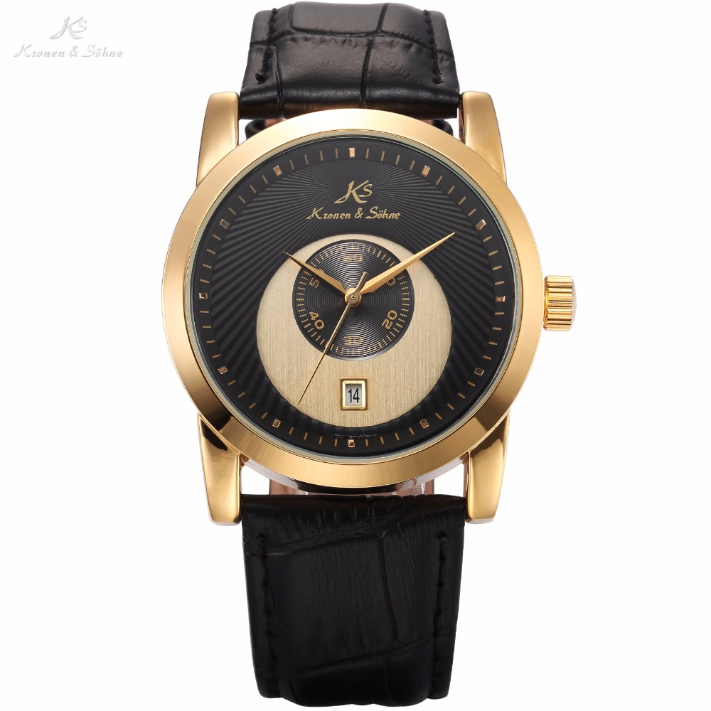 KS Golden Black Sub Analog Round Mechanical Leather Band Wrist Watches Automatic Date Display Mens Business Clock Gift / KS328<br>