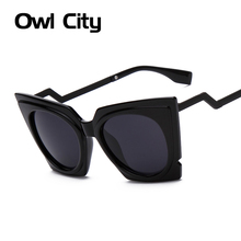 Fashion Brand Oversized frame Cat eye Sunglasses Women Silver Mirror UV Protection Bent leg Big Frame Sun Glasses Acetate Shades