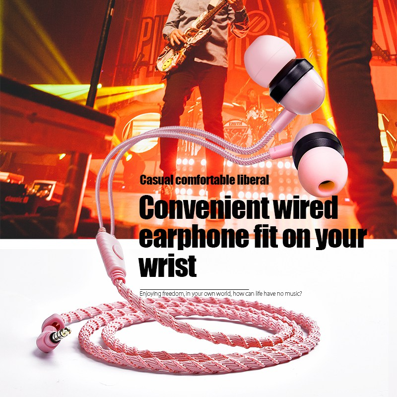 Artisome Wired Bracelet Earphone With Microphone 3.5mm Fabric Braided Earphone For Phone Headphones For iPhone Adroid (1)