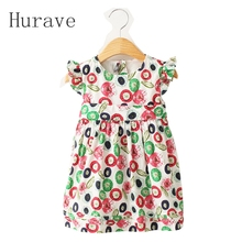 Hurave 2017 summer kids cut Girls Princess flower vestidos dresses children party casual dress(China)