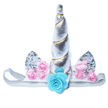 1PC Cute Children Girls Floral Cat Ear Sequins Unicorn Horn Party Halloween Cosplay Headband Hair Band(China)