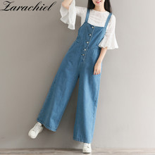 Zarachiel 2017 Cotton Plus Size Denim Jumpsuit Overalls Women Single Breasted Jean Ropmer Boyfriend Wide Leg Pant Jeans Trousers(China)