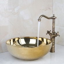 Ceramic Bathroom Sink Round Polished Golden Bathroom Sink Set Antique Brass Double Handle Bathroom Faucet DV46028631