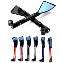 CNC Aluminum Die-Casting Universal Motorcycle Rear View Mirrors Blue Glass Curved Rod For Street Bike Sport Bike Scooter CRUISER