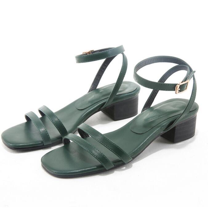 New Genuine Leather female sandals European fashion 2017 Square heel Elegant sandals women Green retro Roman womens sandals<br><br>Aliexpress