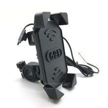Universal Motorcycle Phone GPS Clamp Holder Mount 3.5-7 Inch Device 12V Scooter USB Charger For Suzuki Aprilia Triumph Victory