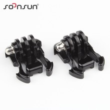 SOONSUN GoPro Accessories 2pcs Helmet Accessories Mount Basic Adapter Buckle for Go Pro Hero 3+/3/4 SJ4000/5000/6000