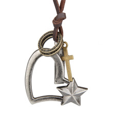 2017 Long Choker Necklace For Women Vintage Metal Heart-Shaped Star Leather Necklaces & Pendants Femme Jewellery Gift
