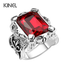 Kinel Punk Style Red Glass Ring Men's Vintage Jewelry High Quality Big Square Red Stones Finger Rings For Man