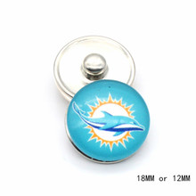 Fashion Jewelry Seattle Miami Football Team Sport Glass Snap Button 18mm 12mm Dolphin Snap Button Charms For Sports Fans(China)
