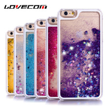 LOVECOM For iphone 4 4S 5 5S SE 6 6S Plus 7 8 Plus X Glitter Stars Liquid Quicksand Hard Transparent Phone Cover Case& Bags