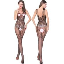 Hot Sexy Women Sheer Crotchless Mesh Tights Body Stockings Lingerie Gap Between Legs Stockings Lace Sleepwear Women Stocking