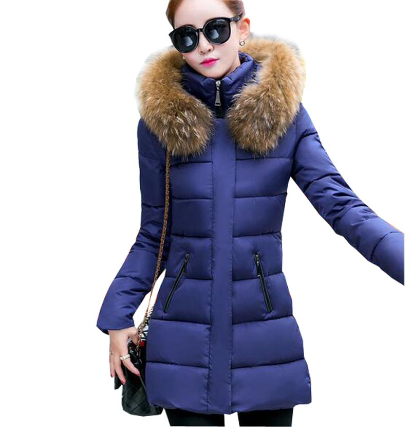 womens jacket down cotton parkas 2017 winter coat medium long hooded slim thick warm coat wadded faux fur collar jackets kp0925Одежда и ак�е��уары<br><br><br>Aliexpress