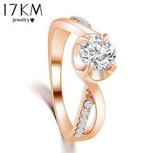 17KM 2/Color hot New Design Fashion Noble Rose Gold Color Zircon Crystal Rings jewelry ! CRYSTAL SHOP(China)