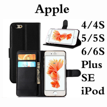 Black Leather Case For Apple Iphone 4 4S 5 5S SE 6 6S iPod 5 6 Plus Fold Wallet Cover Flip Card Slots Kickstand Hard Shell