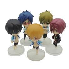 Hot 5Pcs/Lot Japanese Free! Iwatobi Swim Club Rin Macoto Haruka Nanase Rei Doll Action Figures Model Toy