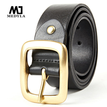 Buy MEDYLA Classic Copper Buckle Belt High Brand Male Belts Cowhide All-match Business Casual Vintage Cowhide Men Strap for $19.24 in AliExpress store