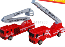 Wholesale Children Vehicles Toys Mini FIREMAN Toy Red Fire Truck Pull Back Car Boy Educational Toy Gift for Birthday Christmas(China)