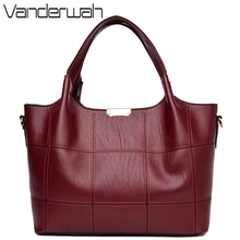 VANDERWAH Hot 2017 Brand Leather Luxury Handbags Women Bags Designer Shoulder Bags Casual Tote Ladies Handbags Leather hand Bags