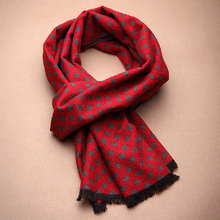 2014 New Style Winter Man 100% Silk Muffler Gray & Red Rectangle Scarf Business Short Tassels Geometric Plaids Scarves