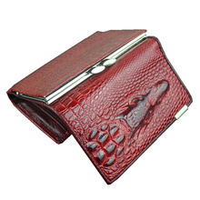 Free shipping leather women mini wallets , Crocodile 3D mini purse wholesale 2014 new fashion woman card holder wallets